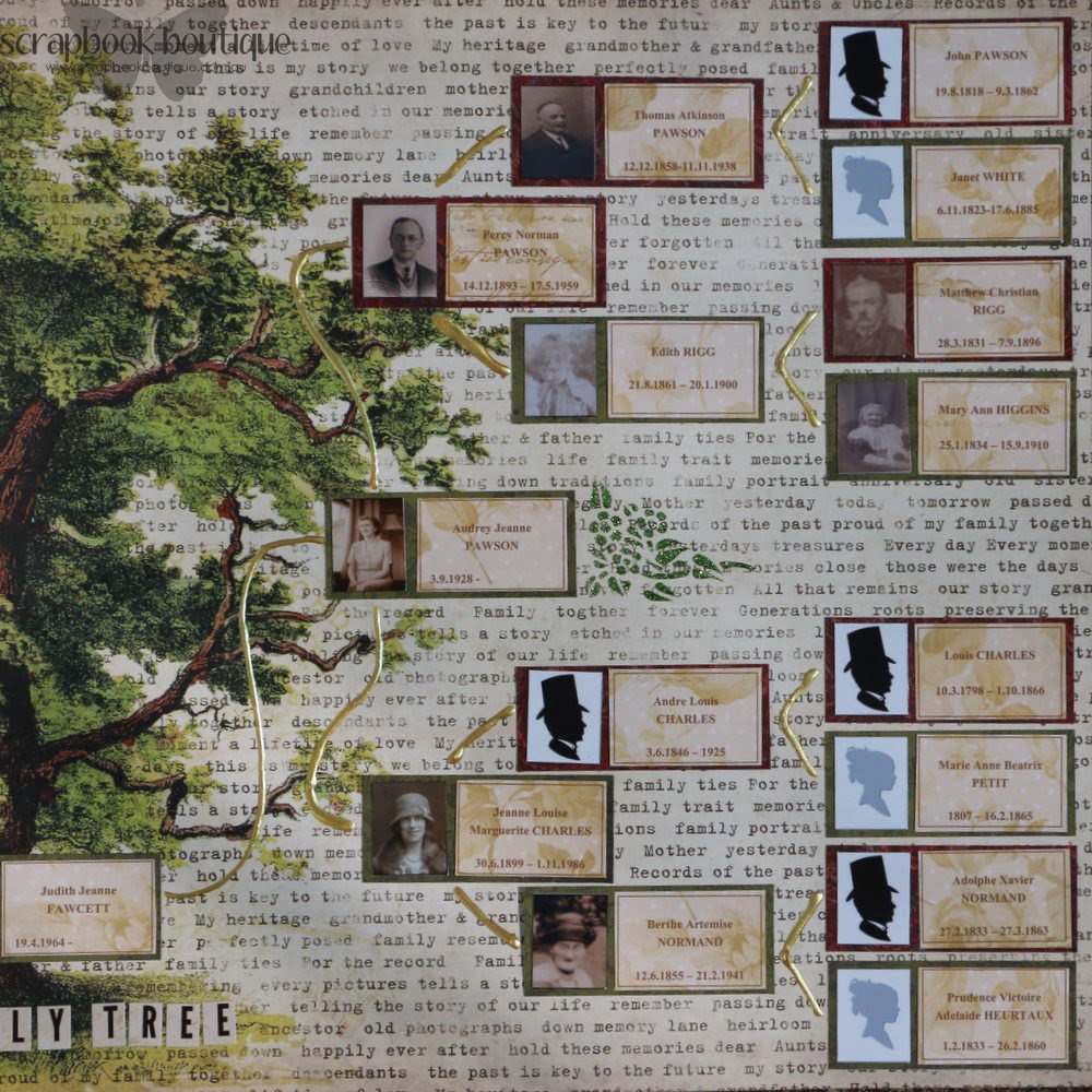 How to scrapbook family tree - Here Is Each Side Separately