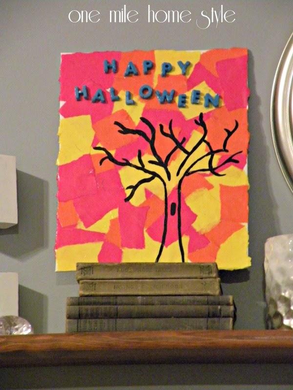 DIY Happy Halloween Art in Fall Colors