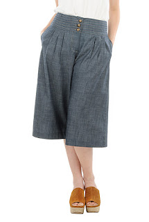 http://www.eshakti.com/shop/Pants/Pleated-denim-chambray-culottes-CL0035899