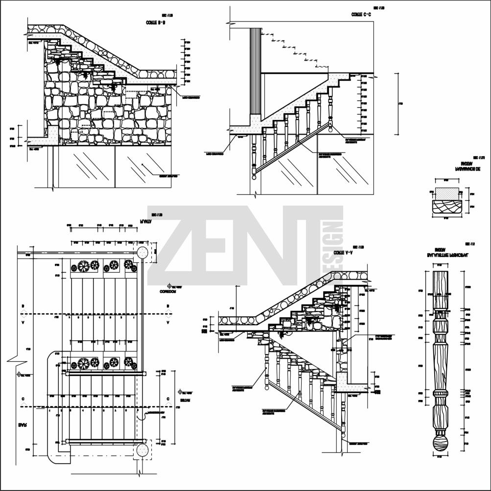 Zent design 2d escaleras de madera planos for Escaleras metalicas planos