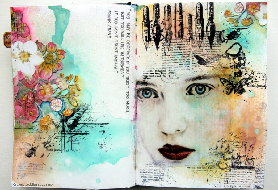 Bliss and gesso art journals and the white page for Journal painting ideas