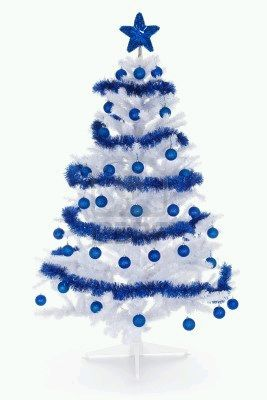 Blue christmas trees 2 - Arbol de navidad blanco decorado ...