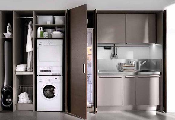 Electrodom sticos integrados en la cocina kansei cocinas - Columna horno y microondas ...