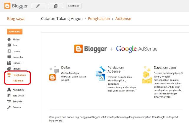 Cara Mengaktifkan Menu Pendftaran Googel Adsense Di Blog