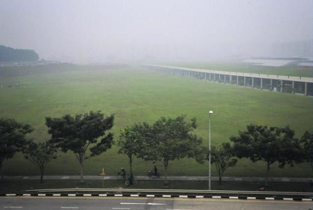 SHROUDED: A cyclist along Sengkang East Road yesterday, with HDB blocks on the horizon barely visible.