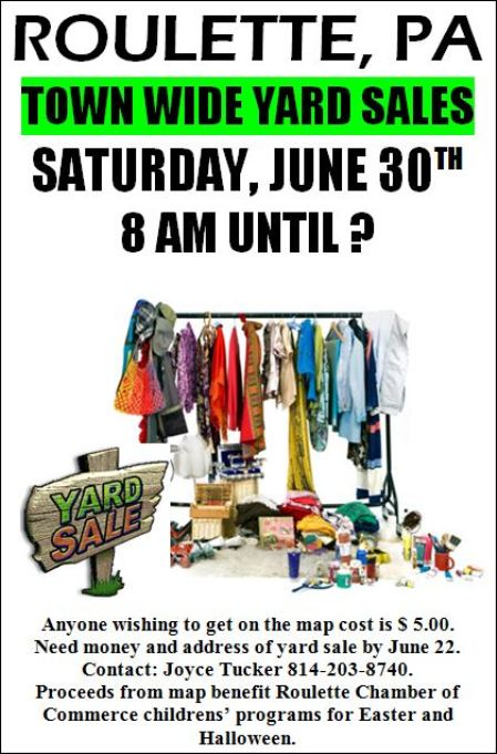 6-30 Town Wide Yard Sale, Roulette, PA