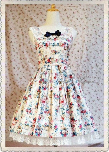 cute rococo lolita dress with lace and printed accents