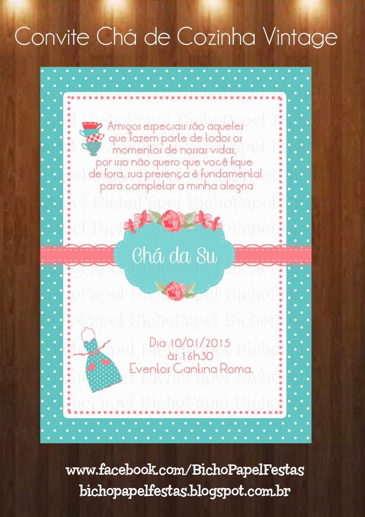 Arte Convite Chá de Cozinha Vintage Azul Tiffany e Rosa