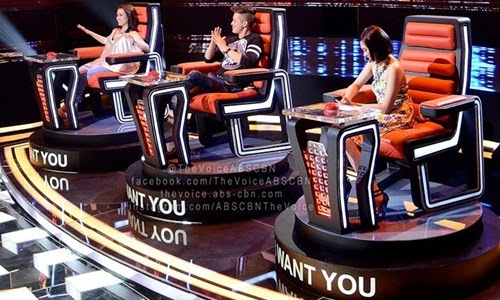 The three coaches of The Voice Kids in the new red chairs: Lea Salonga, Bamboo and Sarah Geronimo