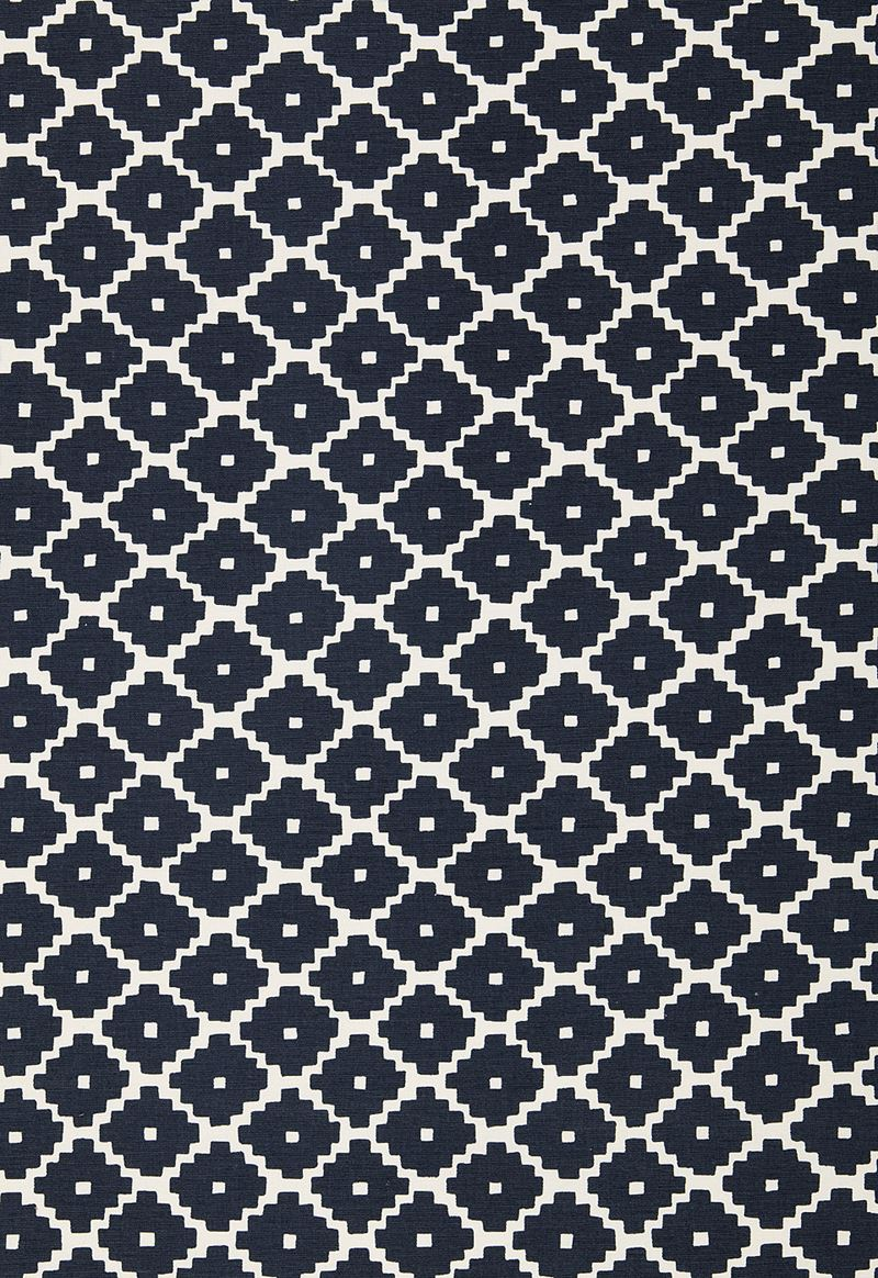 Schumacher Ziggurat Fabric in Navy