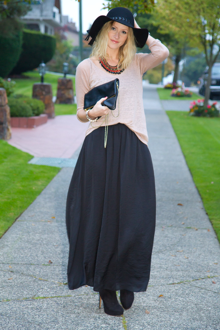 Vancouver Fashion Blogger, Alison Hutchinson, wearing Zara black hat, maxi skirt, nude knit, black suede booties, black and red woven necklace; H&M black leather bag, True Worth Design and XO Bella skull bead bracelets, and Givenchy Bracelet