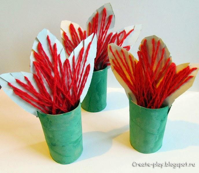 тюльпаны из картона и ниток