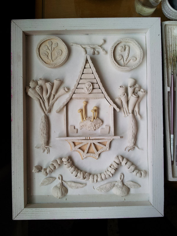 white paperclay diorama
