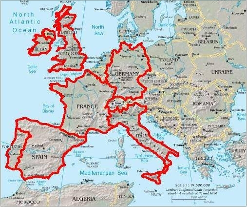 Map England France Italy - Is france in italy