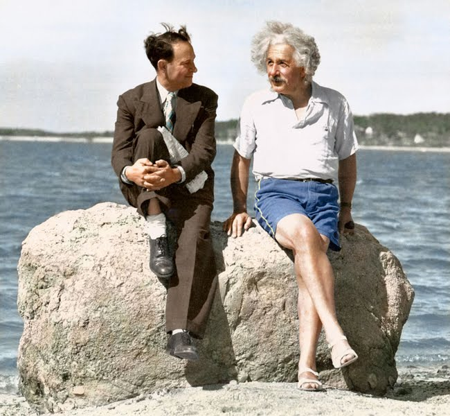 Albert Einstein on a Long Island beach in 1939.
