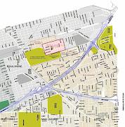 Fig. 2.1 - Mapa de localización del barrio Malvinas ( rosado ) y barrios . barrio malvinas mapa