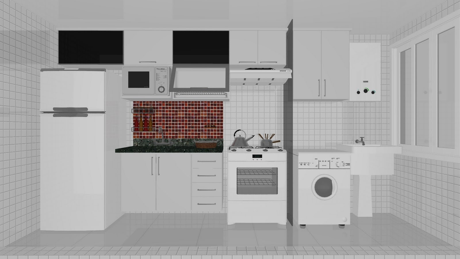 Cozinha: Podem cobrar que a cozinha seja com cores e não branca como  #694139 1600 900
