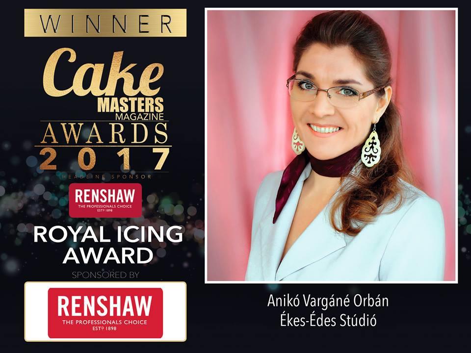 Vargáné Orbán Anikó Elnyerte a nemzetközi Cake Masters Awards 2017 Royal Icing kategóriájának díját