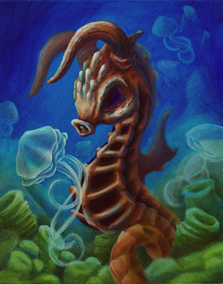 Horned Seahorse Acrylic Painting