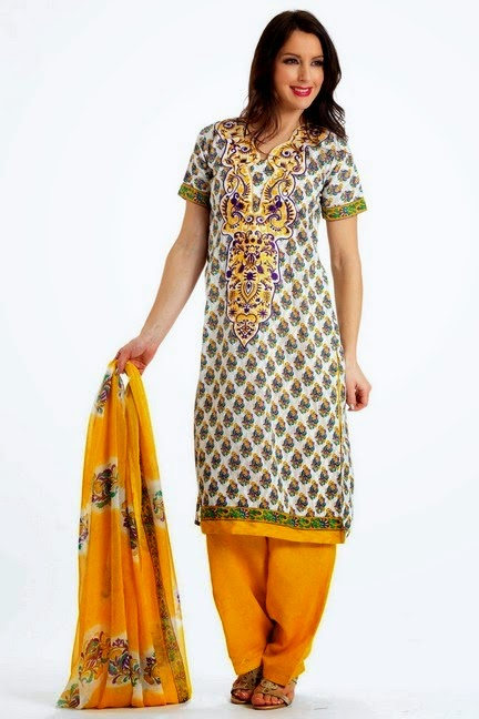 Printed Salwar Kameez with embroidered Bunch
