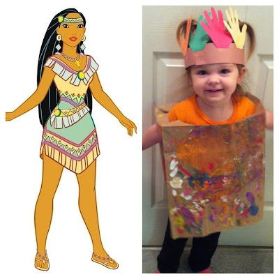 Thanksgiving craft ideas for toddlers and kids: hand painted Pocahontas outfit with cut out hand headdress  art www.thebrighterwriter.blogspot.com