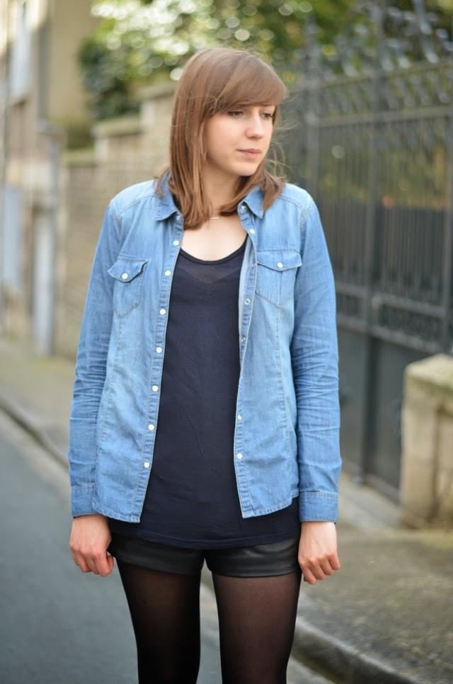 look chemise jean short en cuir