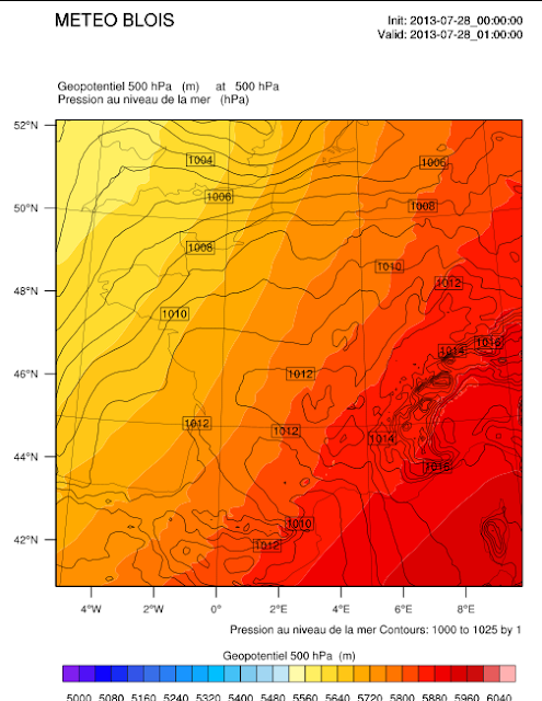 WRF Pression et géopotentiel à 500 hPa.