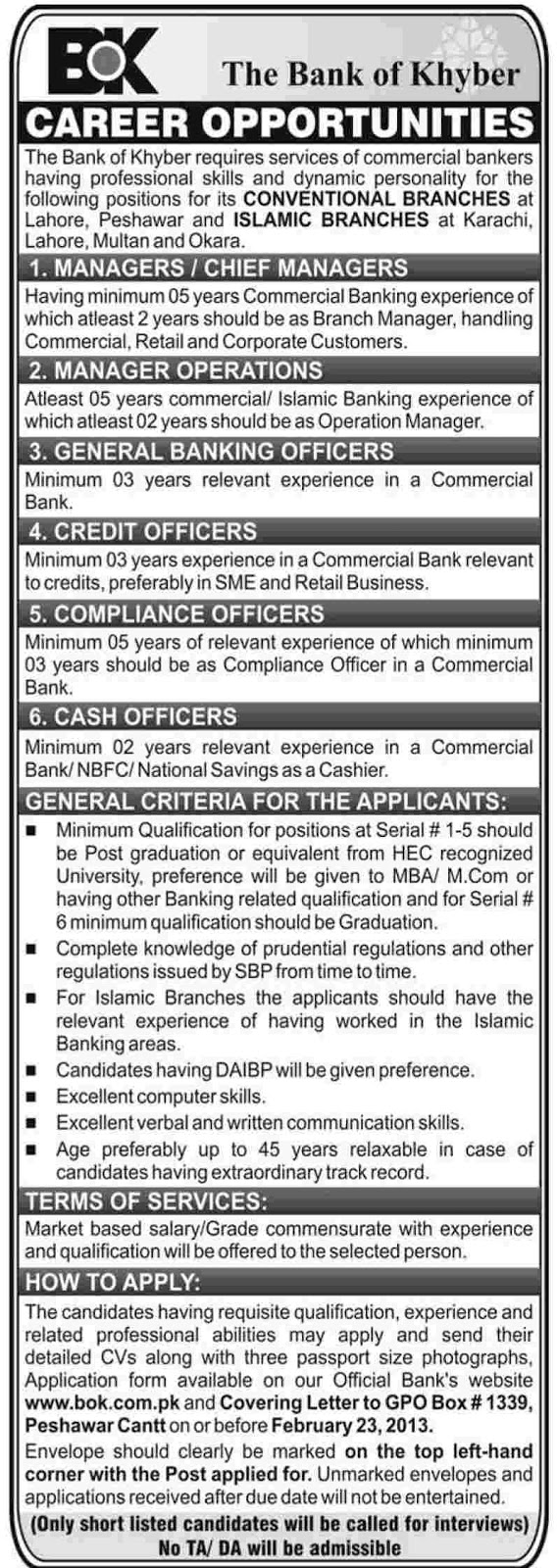 bank of khayber career opportunities in daily jang