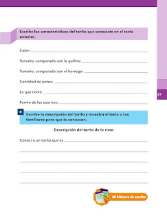 Apoyo Primaria Español 1er grado Bimestre 3 lección 3 ¿Cómo son los animales de la rima?
