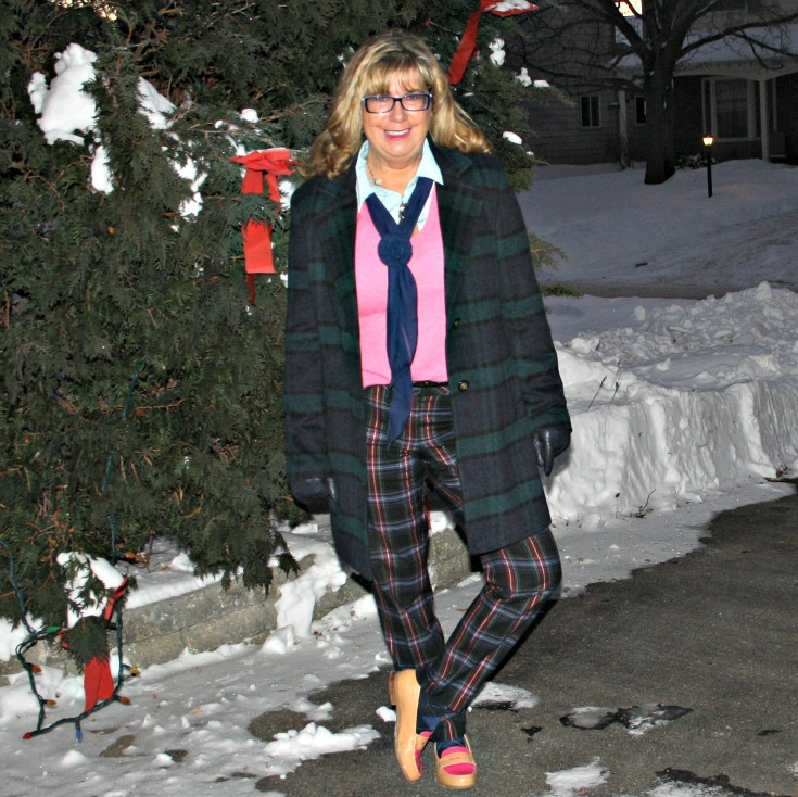 Forever 21 Plaid coat withTarget plaid pants with a pink cashmere sweater  and tommy loafers
