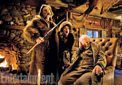 Kurt Russell, Bruce Dern and Jennifer Jason Leigh in The Hateful Eight