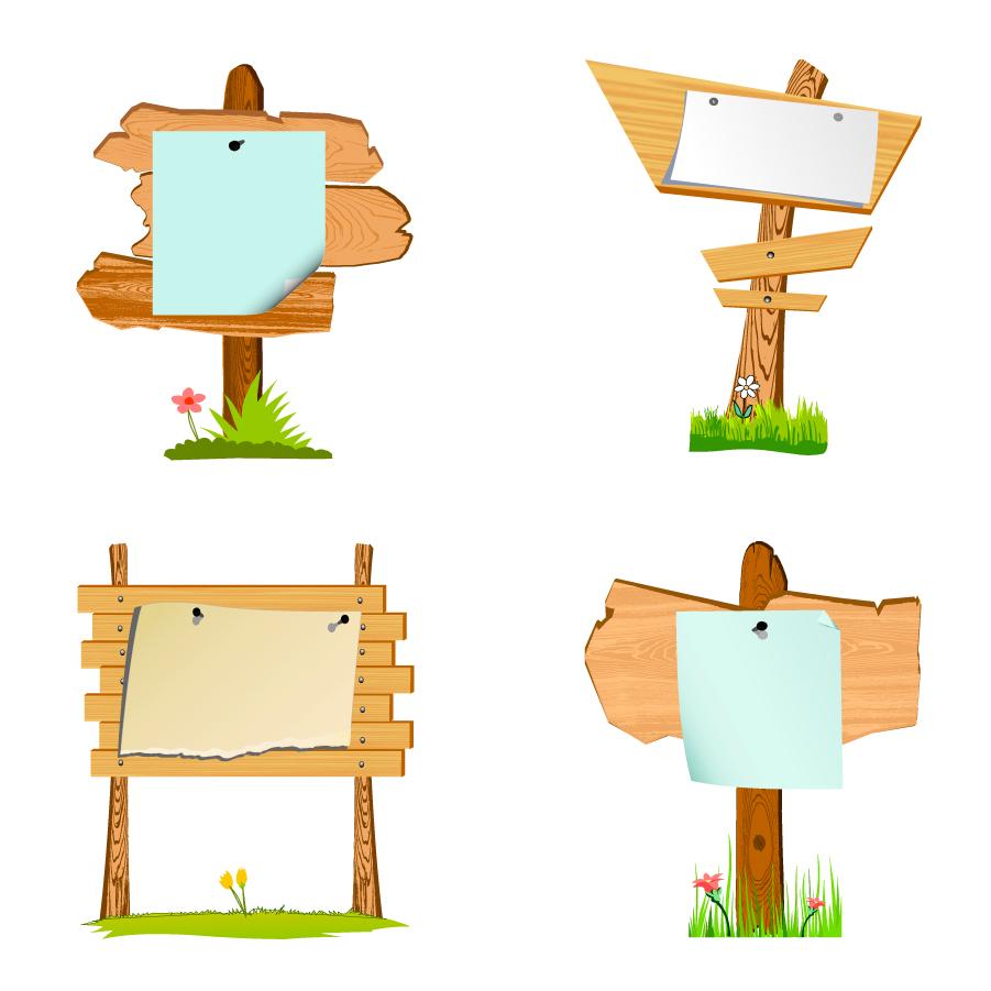 木製の案内掲示板 Wood signs vector イラスト素材