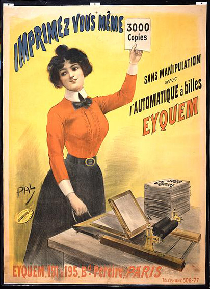advertising, classic posters, free download, french poster, graphic design, retro prints, vintage, vintage posters, Imprimez vous mème 3000 copies sans manipulation avec l'automatique à billes Eyquem - Vintage Advertising Poster
