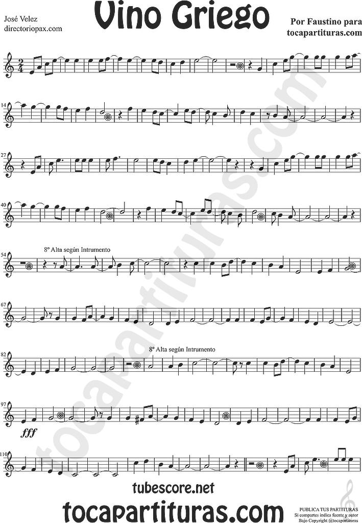 diegosax: Vino Griego de José Velez Partitura de Flauta, Violín ...