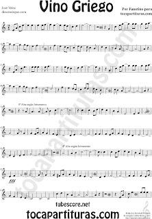 Partituras de Vino Griego en Clave de Sol Partitura de Flauta, Violín, Saxofón Alto, Trompeta, Violín, Oboe, Saxo Tenor, Soprano Sax, Barítono, Fliscorno, Trompa, Corno inglés... Sheet Music for Alto Sax, Violin, Flute, Trumpet, Clarinet, Flugelhorn, Horn, Recorder, Baritone, Tenor, Soprano, Oboe... Music Scores in Treble Clef (G)