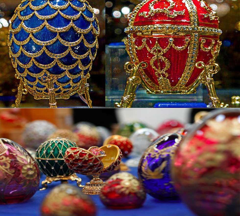 Ovos de ouro e diamante da Faberge.