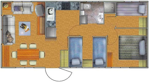40m2 apartment plan with three bedrooms