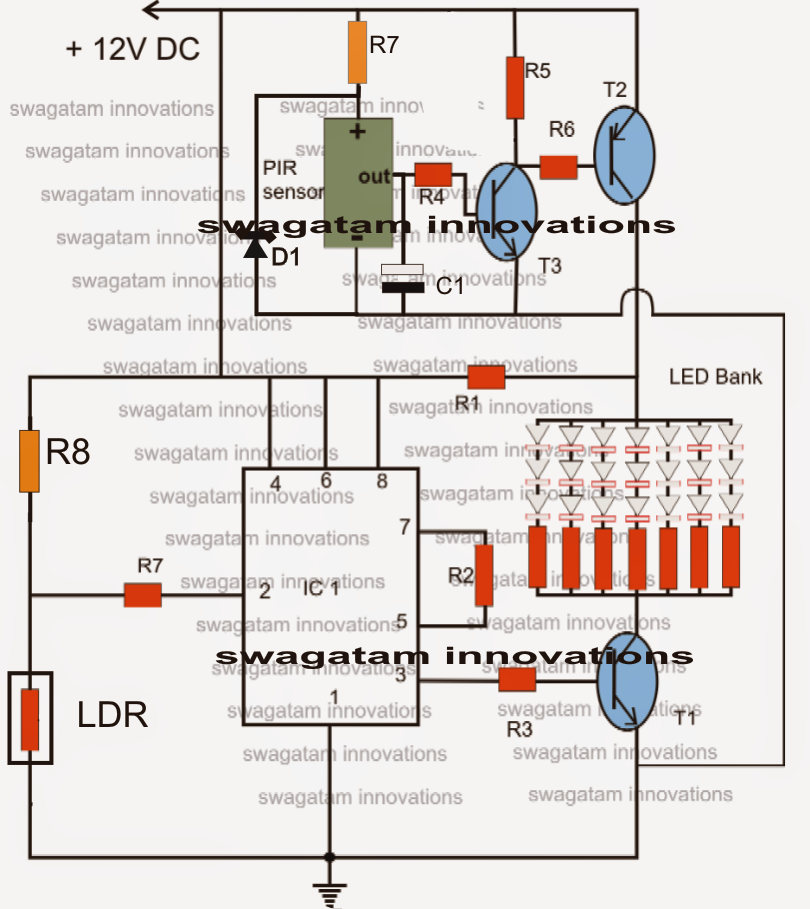 pir led lamp circuit electronic circuit projects let s try to understand the pir based led lamp circuit functioning from the following points