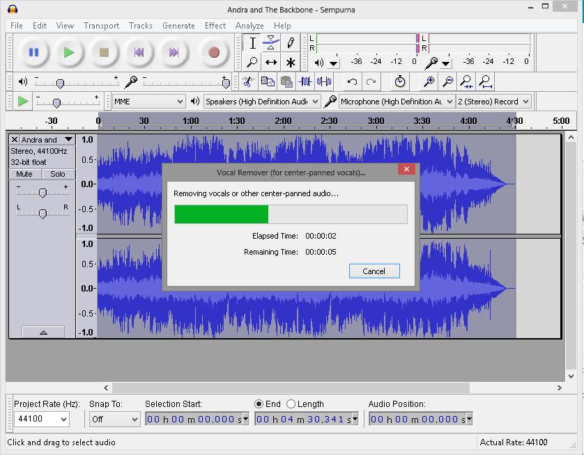 Cara mengolah dan menghapus suara vokal musik dengan