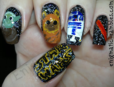 star-wars-inspired-nail-nails-art-yoda-r2d2-lightsaber-wookie-freehand