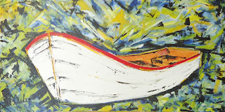 Clameli - Marina - Canoa branca - Acrílico s/ tela