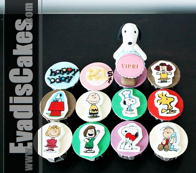 Full view picture of Snoopy cupcakes with edible image