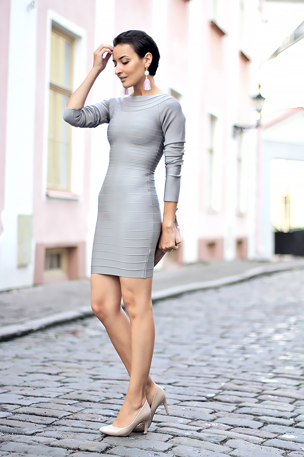 gray bandage dress