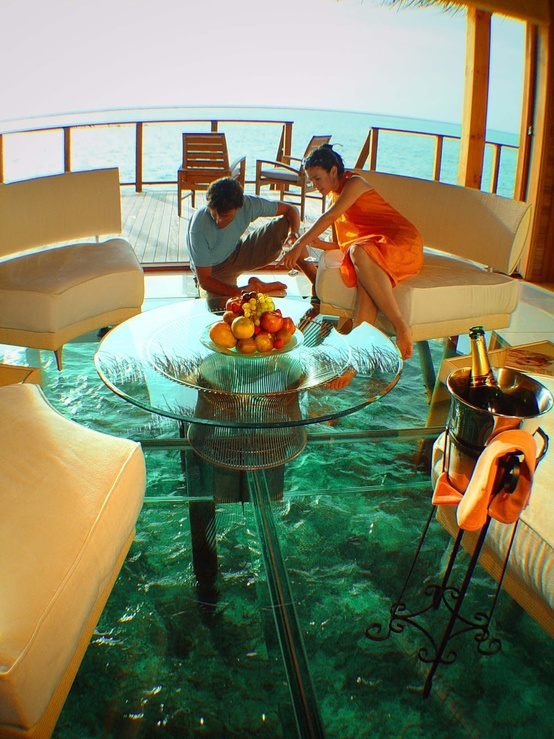 Hotel Room With Glass Floor Over Water