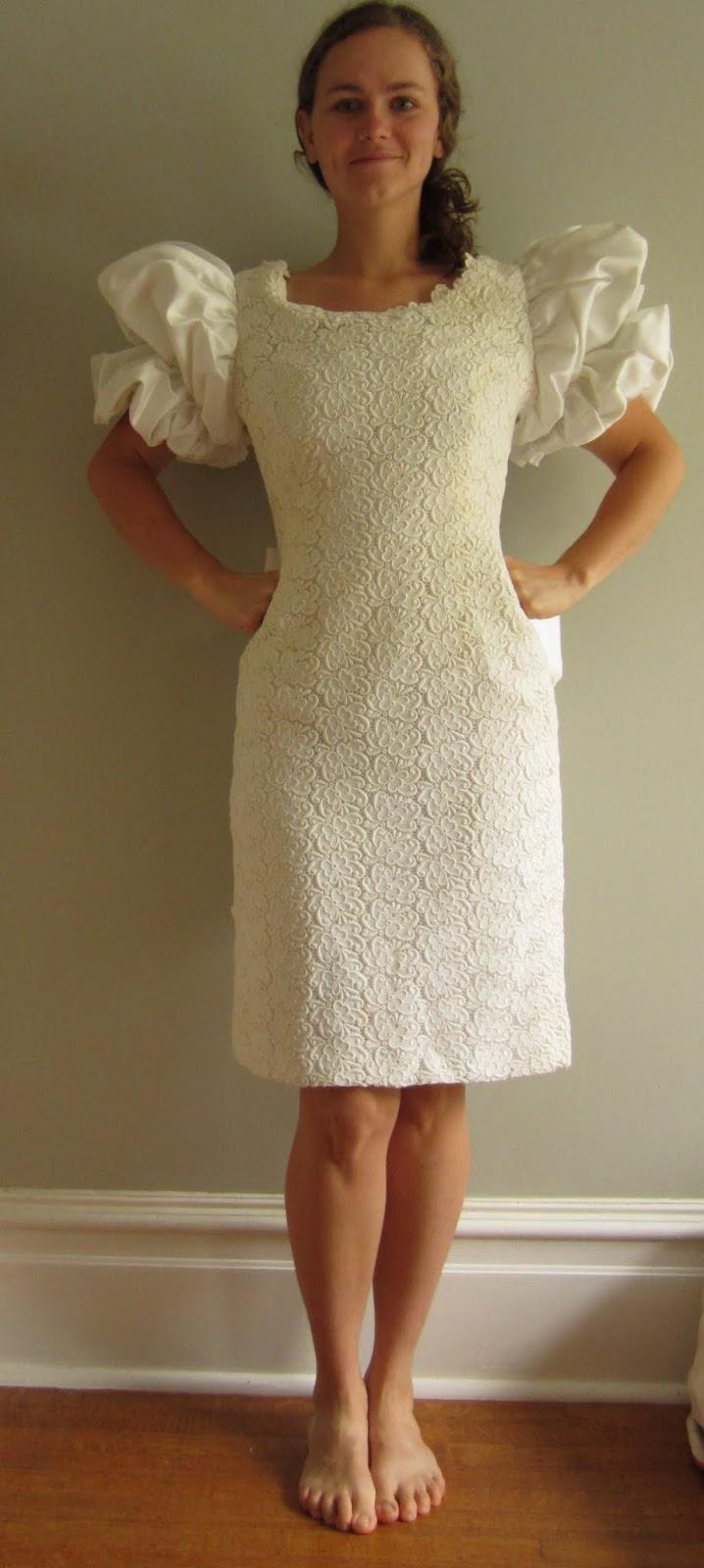 a thrift store wedding dress pre restoration