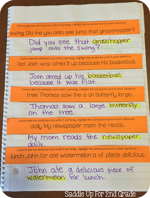 Compound Word Journal Prompts by Saddle Up For 2nd Grade
