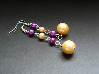 biżuteria z półfabrykatów - fioletowo-żółty komplet (kolczyki)