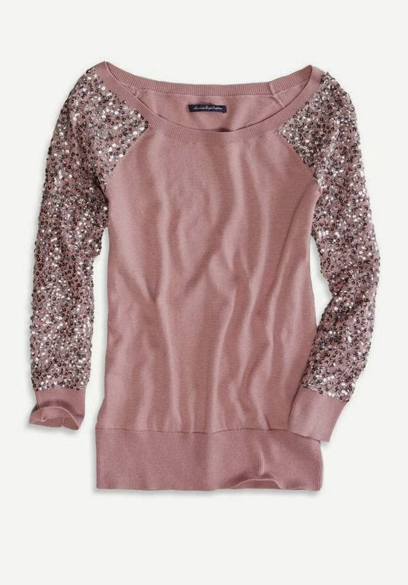 AE Sequin Sleeve Crew Sweater
