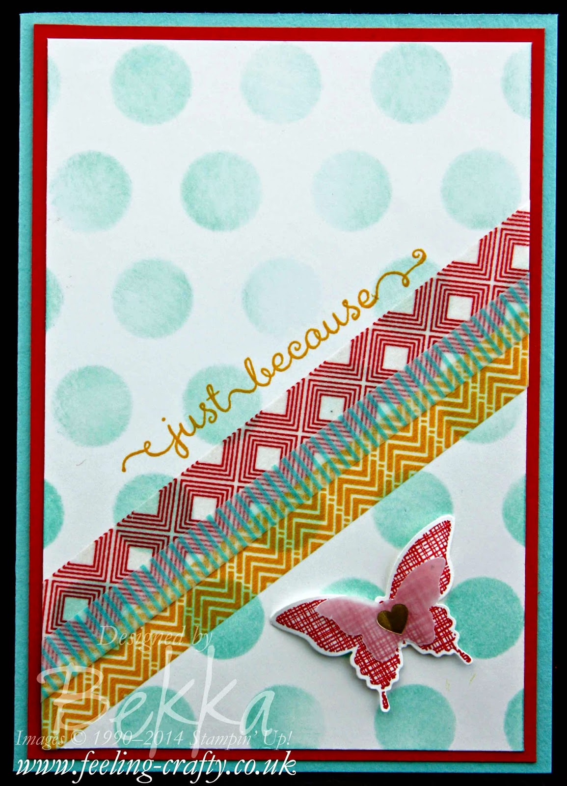 Just Because Card featuring the Kinda Eclectic Stamp Set by Stampin' Up! UK Independent Demonstrator Bekka - check out her classes and you could be making cards like this