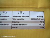 Valores nutricionales del chocolate para cobertura Fin Carré de Lidl.